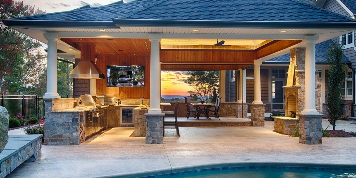 Poolside Outdoor Kitchen on Modern House Kitchen Designs